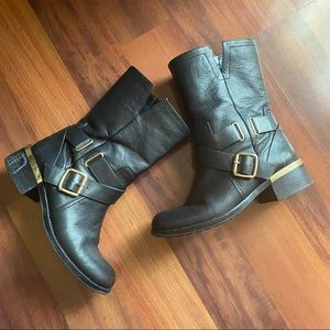 Vince Camuto black and gold boots 8.5 wethima Leather